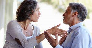 Mature couple arguing
