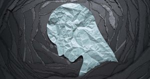 Silhouette of depressed and anxiety person head