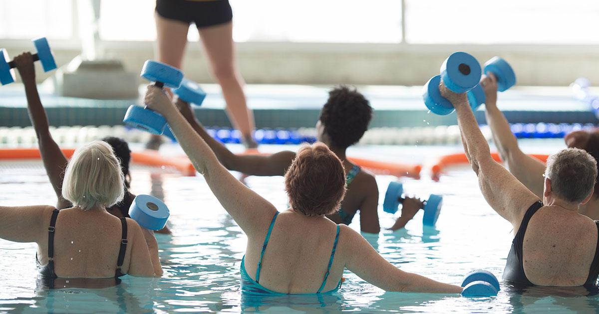 Water aerobics class