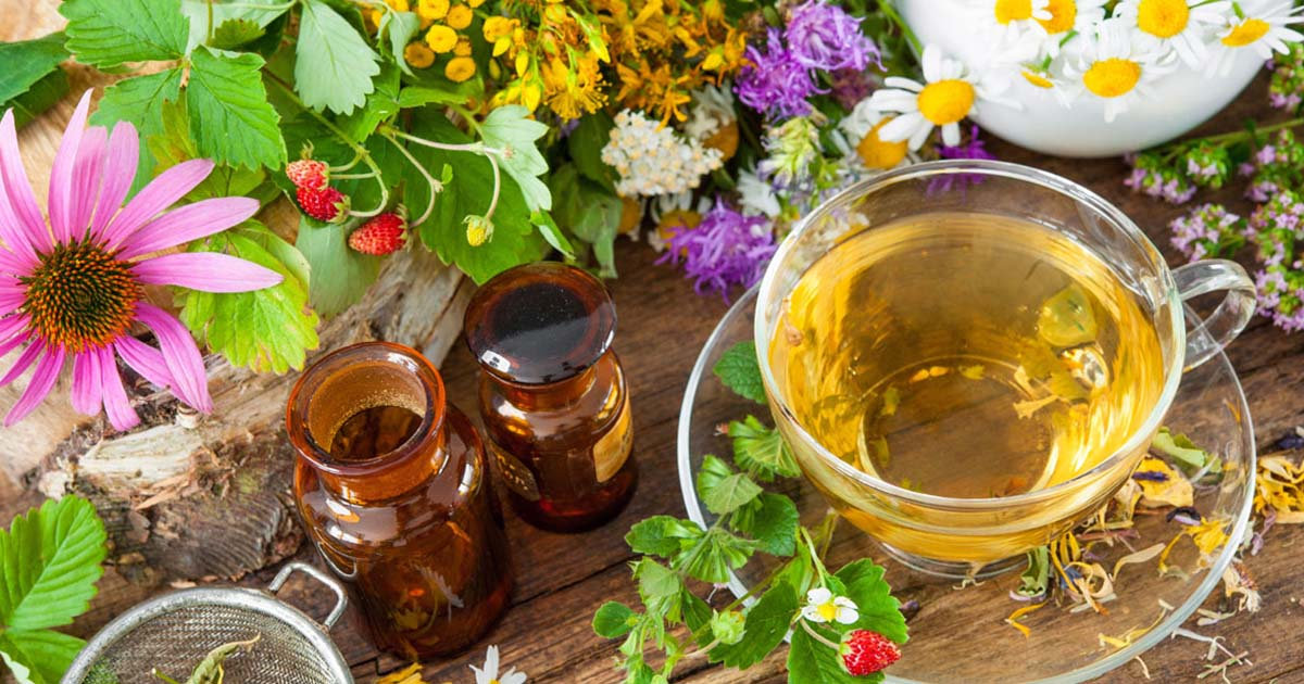 An assortment of herbs with tea and essential oils